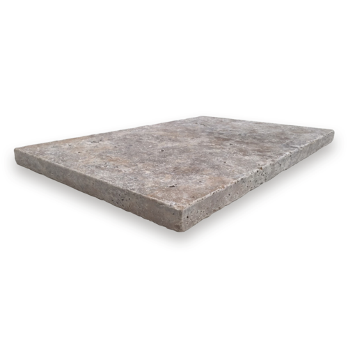 AT0003 Travertine Silver Grey Ash Tumbled Paver 406x610x30mm